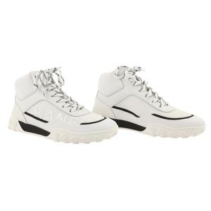 Chanel White Lycra Mesh Leather High Top Sneakers